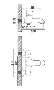 Смеситель Accoona для ванны короткий излив. Силумин A6362