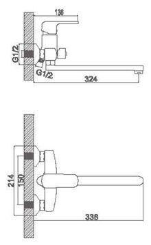 Смеситель Accoona для ванны изливом 300мм. Дивертор в корпусе. Силумин A7162