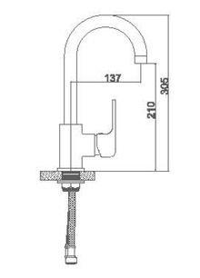 Смеситель Accoona для кухни высокий с гайкой A4562