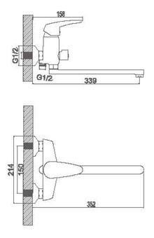 Смеситель Accoona для ванны изливом 300мм. Дивертор в корпусе. Силумин A7163