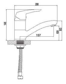 Смеситель Accoona для кухни средний нос с гайкой. Силумин A4263