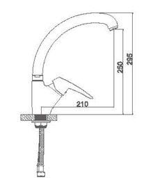 Смеситель для кухни с гайкой(утка). Силумин Accoona A4063