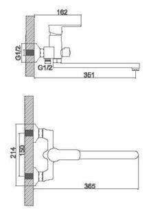Смеситель Accoona для ванны изливом 300мм. Дивертор в корпусе. Силумин A7164