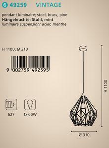 Подвесной светильник Eglo Vintage 49236